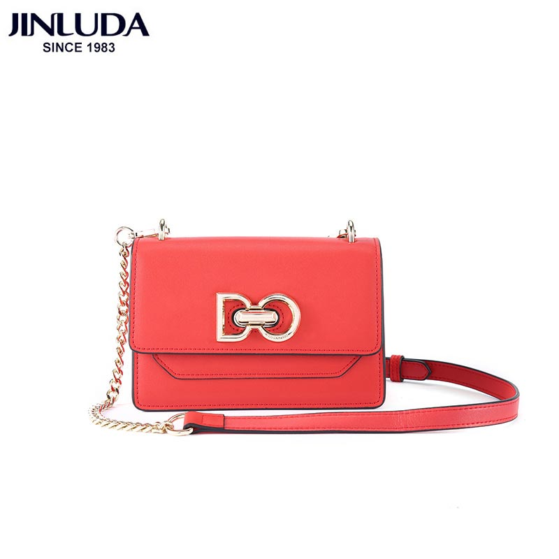 JINLUDA Female Bag 2018 New Chain Bag Hasp Cover Solid Casual Soft  Case Leather Small Square Package Crossbody Bags
