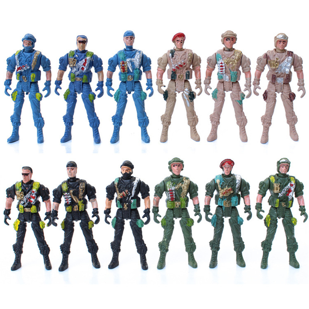 Fashion Style 9cm Plastic Soldier Men Mobility Soldier Toys Military Sandbox Model Playset Special Force Action Figures Kids Toys Randomly Action & Toy Figures