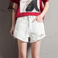 SHINYMORA Summer A Line Shorts 2017 New Cotton Casual Side Stripes Shorts Pockets White Denim Streetwear