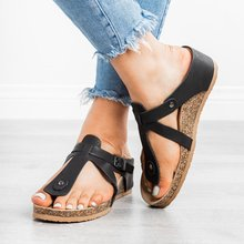 2019 Womens Sandals Summer Beach Casual Shoes Retro Solid Flat Slides Thick-Soled Cork Slipper Fashion Flip Flops P25