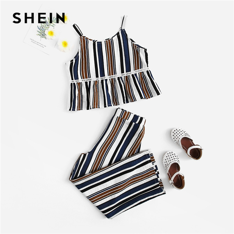 SHEIN Kiddie Ruffle Hem Striped Cami Top And Pants Beach Style Girls Clothing 2019 Summer Sleeveless Casual Girl Clothes Set