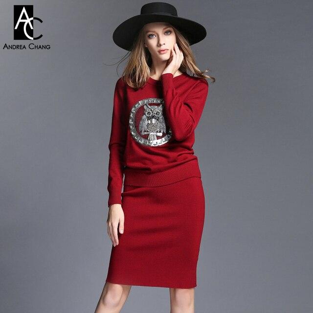 2015 осень зима женская дизайнерская одежда набор черный темно-красный трикотажные горный хрусталь бисероплетение серебряный сова аппликация грудь мода набор