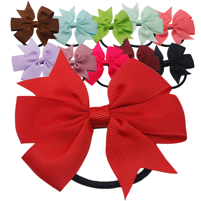 1pc 3 Inch Solid Boutique Grosgrain Ribbon Girl Bow Elastic Hair Tie Rope Hair Band Bows DIY Hair Accessories Gift for 10pcs sweet diy boutique bow headbands elastic head band children girl hair accessories headwear wholesale
