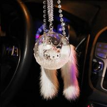 Car pendant high-end creative car rear-view mirror crystal wishing bottle snowflake mink interior jewelry girl