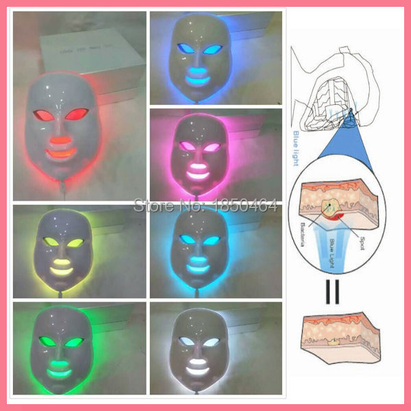 DHL Free shipping 7 Colors Light Photon LED Facial Mask Skin Rejuvenation Care Beauty Therapy