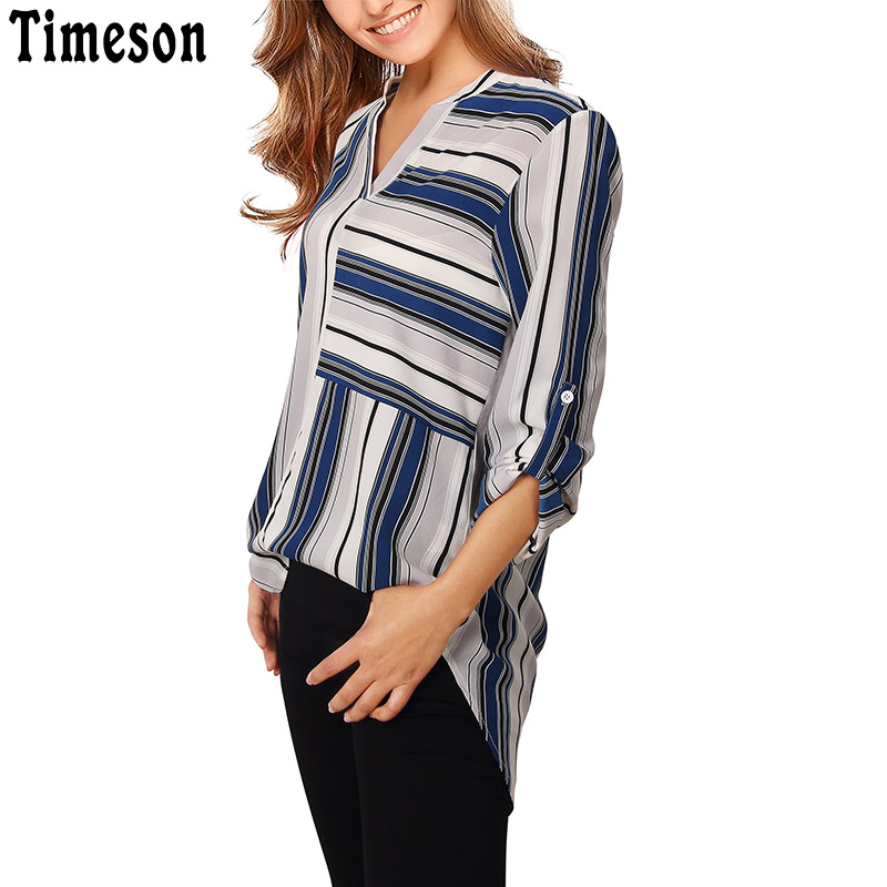 fc14453fa3bdd9 Timeson Casual Chiffon Blouse Women Split V Neck Cuffed Sleeve Striped Blouses  Shirt Tops 2018 Summer Long Blusa Feminina-in Blouses   Shirts from Women s  ...