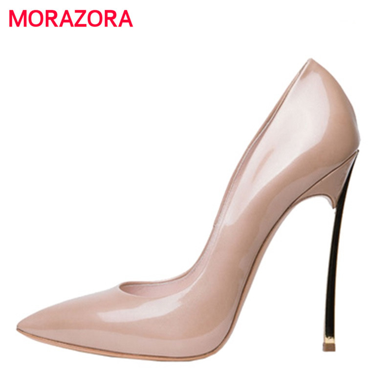 MORAZORA 2018 New arrive super thin high heels ladies prom wedding shoes pointed toe spring/summer women Pumps Plus size 34-43 moonmeek new arrive spring summer female pumps high heels pointed toe thin heel shallow party wedding flock pumps women shoes