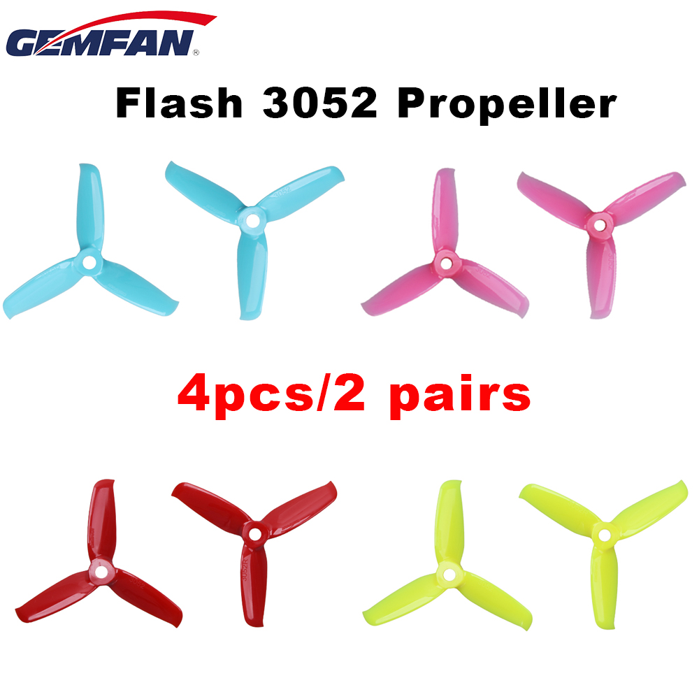 4pcs/2pair Gemfan Flash <font><b>3052</b></font> 3*5.2mm PC 3-blade Propeller 5mm Mounting Hole for 110-130mm Frame 1606 Motor RC Race Racing Drone image