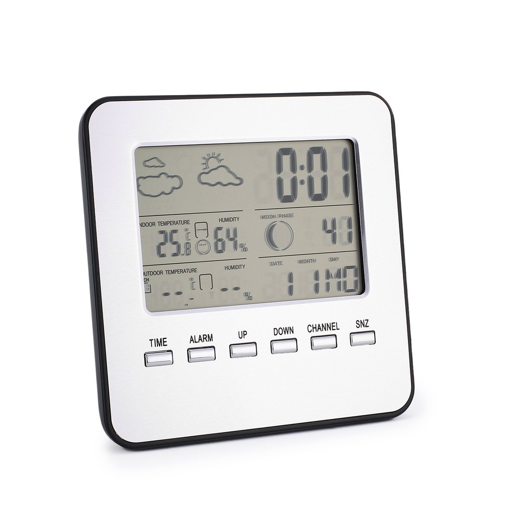Wireless Weather Station Alarm Clock Outdoor Wireless Sensor Multifunctional Indoor Outdoor Temperature And Humidity Meter