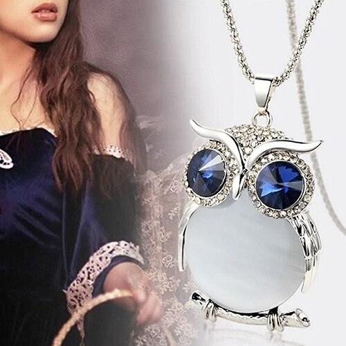 Women Owl Rhinestone Crystal Pendant Necklace Animal Long Sweater Chain Jewelry