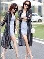 2016 Verano Nuevo Elegante Slim Mujer Moda Gasa Vestido de Manga Corta Del Partido Vestido Largo Rayado Ocasional Túnicas Túnica Negro