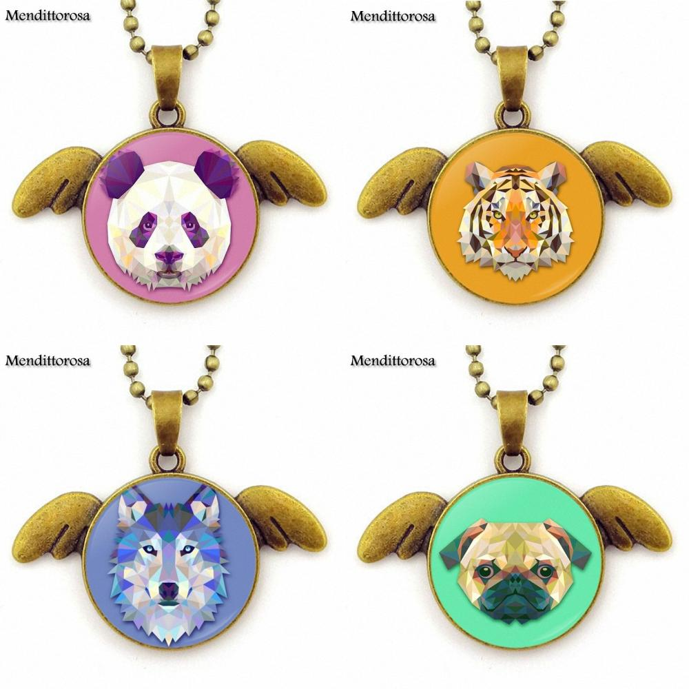 Fox Deer Tiger Owl Dog Wolf Animal Orangutan <font><b>Koala</b></font> <font><b>Bear</b></font> <font><b>Jewelry</b></font> Glass Bronze Angel Wings Pendants Necklace Bijouterie image
