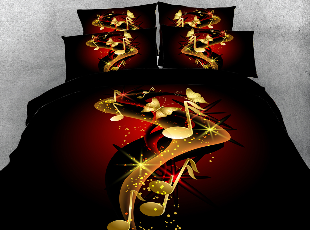 Jf 193 Modern Style Gold Music Notes Print Bedding 4pcs