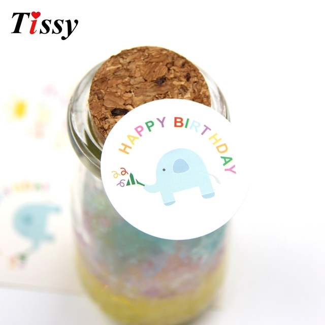 60PCS Cute Elephant Happy Birthday Paper Gift Tags Stickers Biscuit Label Sticker DIY Christmas