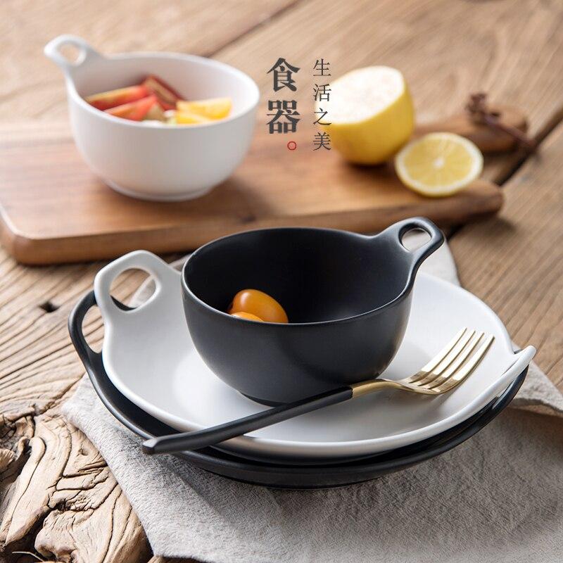 Western Salad Dishes: Guci Japanese Ceramic Plate Western Style Food Tray Scrub