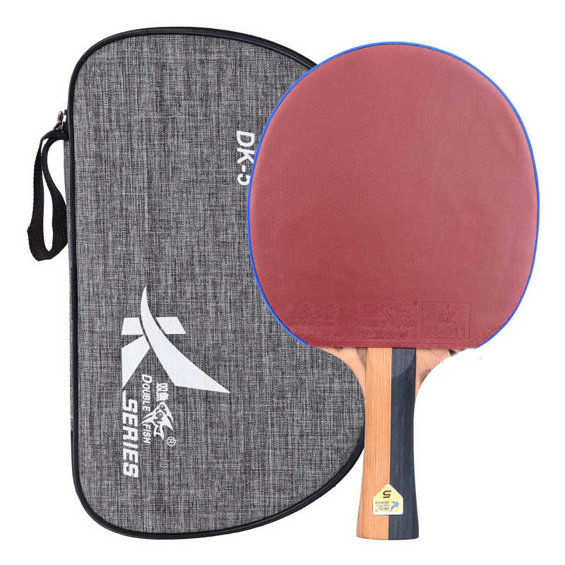 7-Plys Wood Double Fish DK5  Carbon Fiber Table Tennis Racket Pingpong Paddles Racquet Bat Flared Handle With Polish Texture Bag