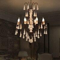 Американский ресторан Vintage железной E14 светодиодные лампы подвесной светильник DIY европейские дома деко Ретро Вуд столовая подвесной свети