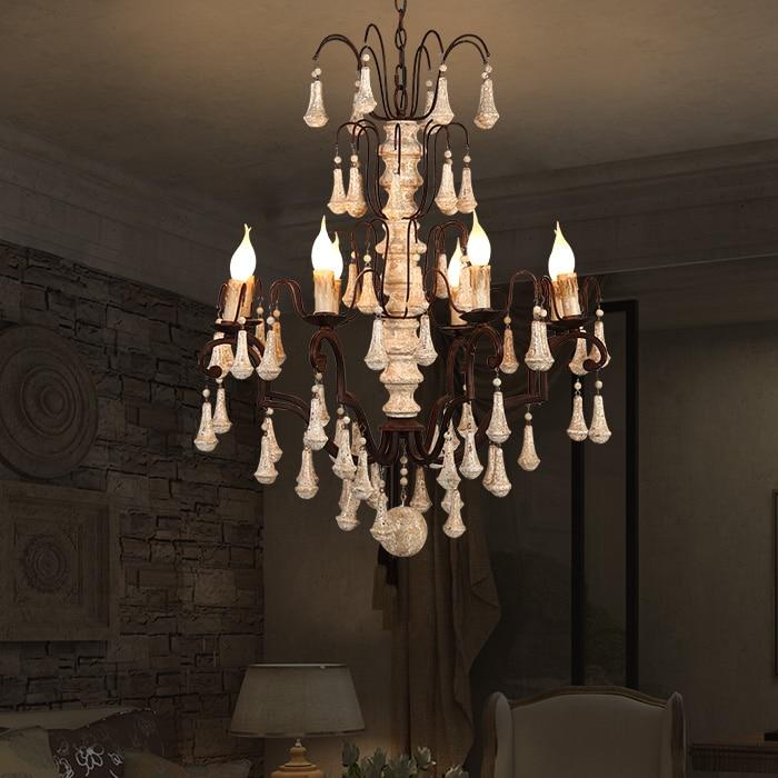 American restaurant vintage iron E14 LED bulb pendant light fixture DIY European home deco retro wood dinning room pendant lamp