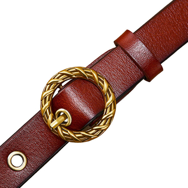 Women's Genuine Leather Belt with Round Shaped Metal Buckle