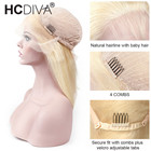 Blond Lace Frontal Human Hair Wigs Pre Plucked Remy Straight Brazilian Frontal Hair Wigs 130% Density Natural Hairline HCDIVA