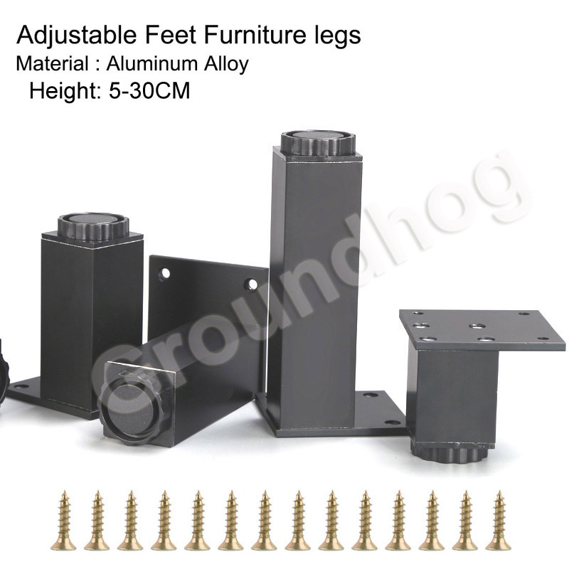 4pcs Aluminum Alloy Adjustable Furniture Cabinet Sofa Desk Table Bed Legs Feet Height(50-300mm)x38mm Width With Mounting Screws