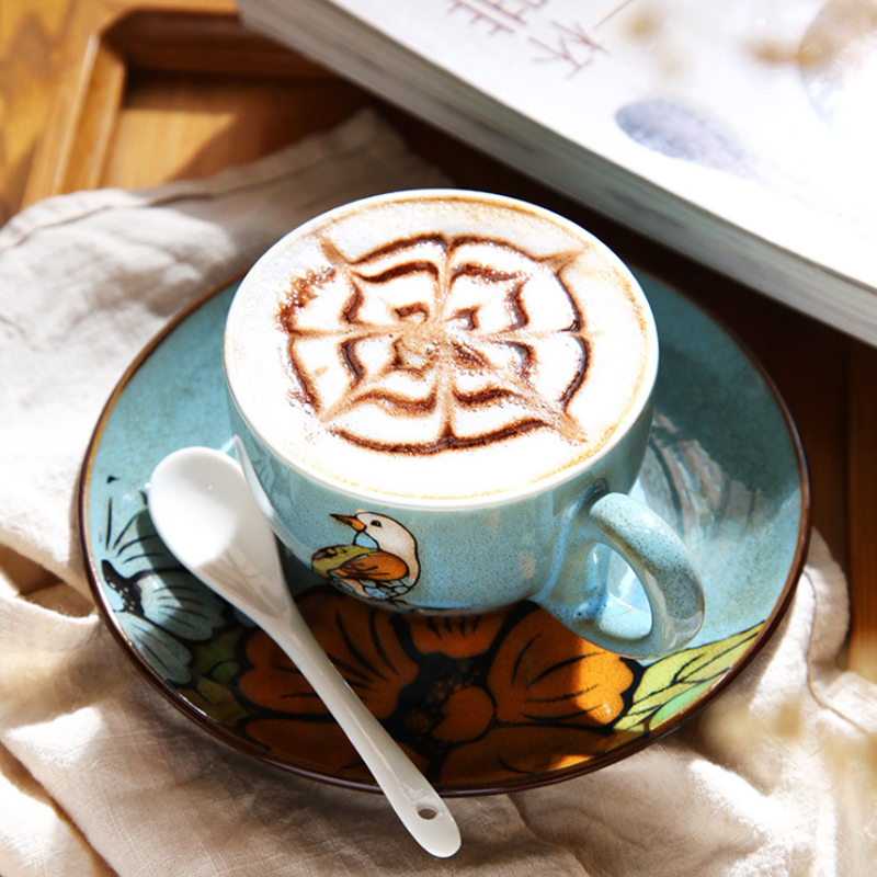 3pcs/set Classical Ceramic Coffee Cup Fine Bone China Coffee Cup Cafe Bar Supplies Embossed Personality Breakfast Cup