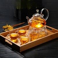 Complete Borosilicate Glass Teapot Set Glass Tea Kettle Cup Bamboo Tea Tray Tea Set Tea Pot Warmer Heat resistant Glass Giftset