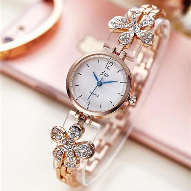 Top Luxury Brand Bracelet Watches Women Rose Gold Quartz Watch For Women Rhinest