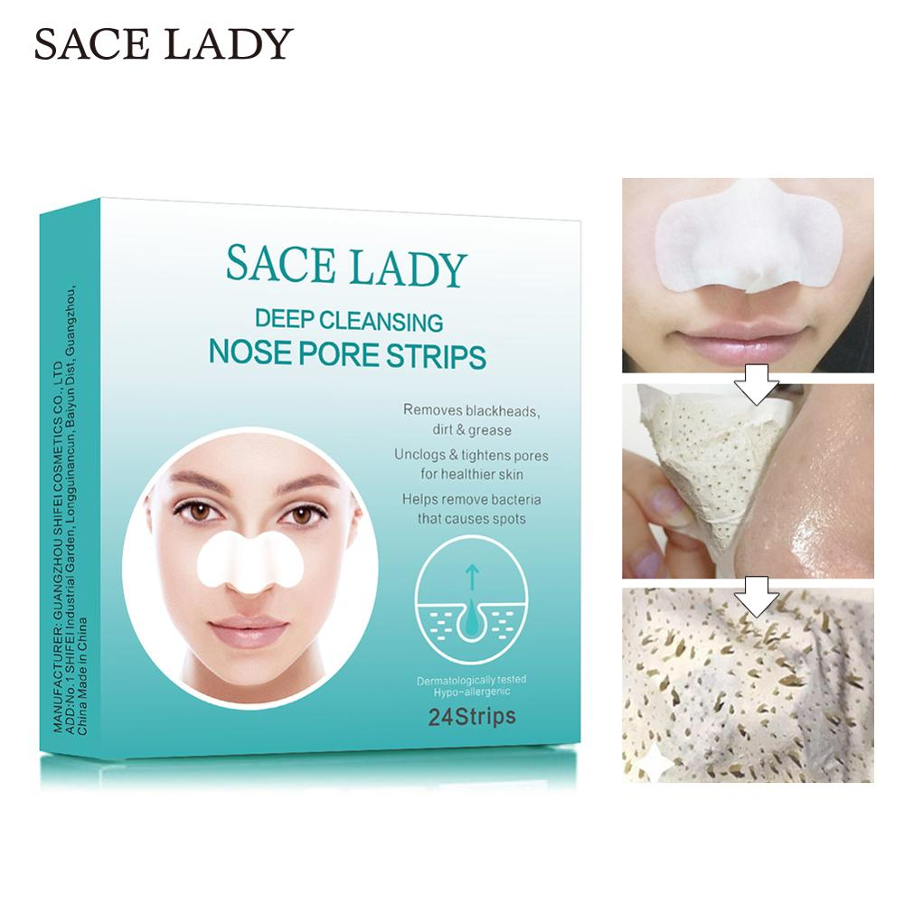 SACE LADY Blackhead Remover Nose Mask 24PCS Deep Cleansing Purifying Peel Off Nasal Strips Facial Pores Sticker Face Skin Care