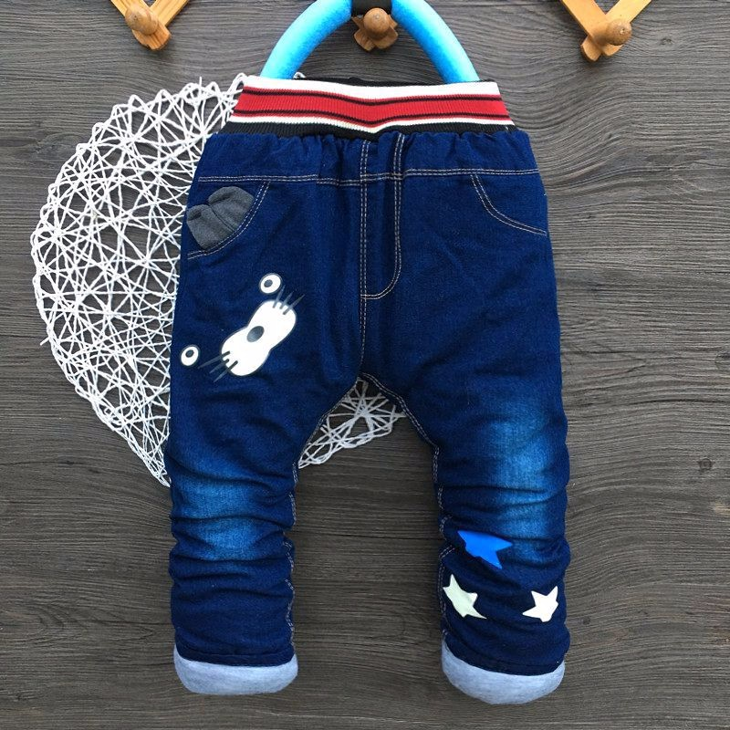 Thick Kids Boys Jeans Cartoon Elastic Waist Trousers Dog Denim Long Pants New Infant Boy Jeans Autumn Winter Toddler Clothing (3)