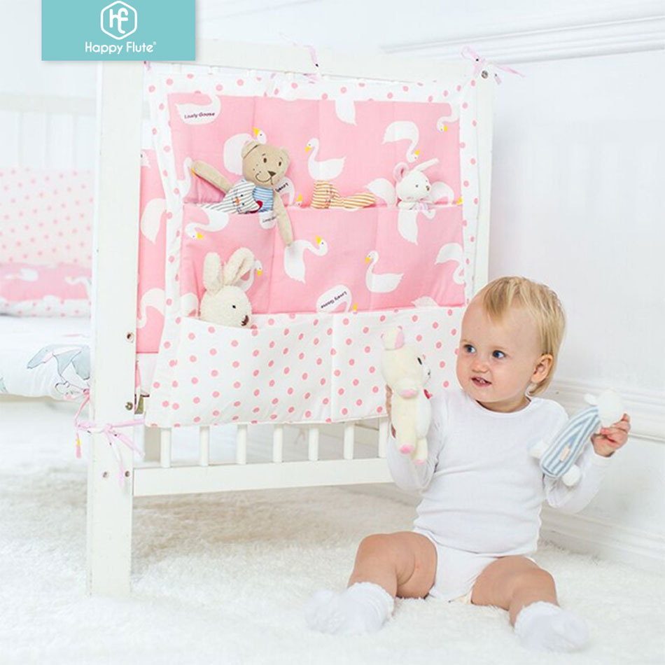 Happyflute Bed Hanging Storage Bag Baby Cot Bed Brand Baby Cotton Crib Organizer 50*60cm Toy Diaper Pocket For Crib Bedding Set