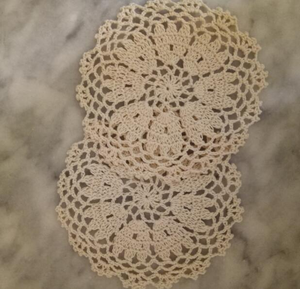 Vintage cotton placemat cup coaster mug kitchen Christmas dining table place mat cloth lace Crochet tea coffee doily drink pad in Mats Pads from Home Garden