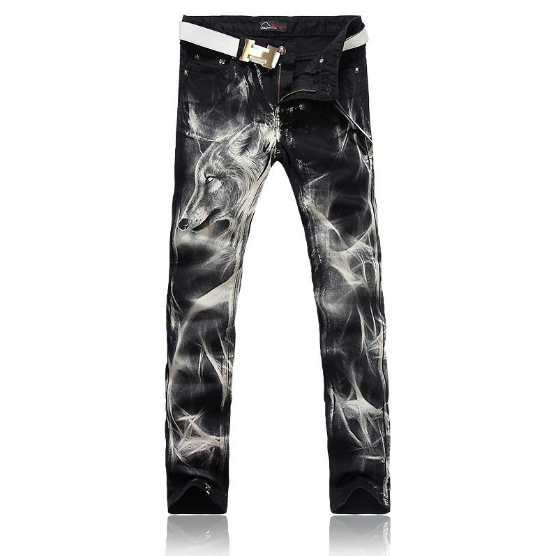 ФОТО LensTid Men's Nightclub Street Wear Wolf Printed Jeans Uomo Mens Black Stretch Jeans High Quality Men Designer Pants Hommes #Y21