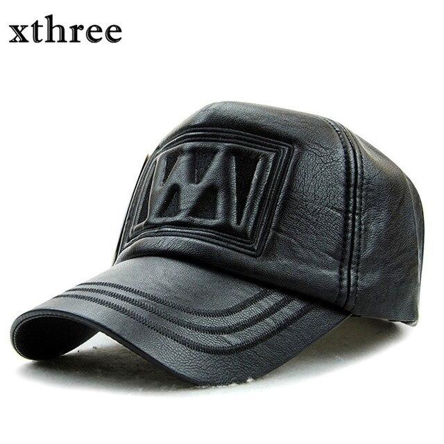 4388d91b84783 Xthree New outono inverno moda couro sintético de alta qualidade boné de beisebol  snapback chapéu para