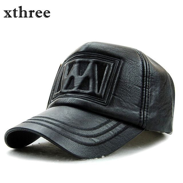 xthree fall winter faux leather baseball cap snapback hat for men women  casual 11e9480dd6af
