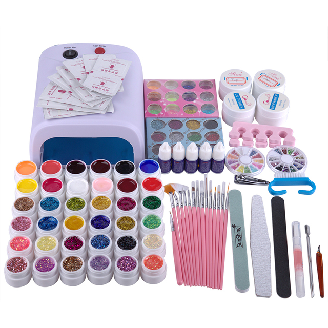 Luxury package nail gel set professional manicure set with 36W UV nail lamp acrylic nail tips and 36colors gel nail polish