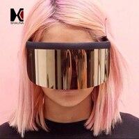 SHAUNA Çok Çok Büyük Entegre Lens Kadın Yarım Çerçeve Güneş Boy Erkekler Gözlüğü Gözlük UV400