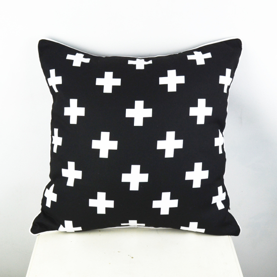 45*45 cm capa de almofada Black and White Swiss Cross Decorative Throw Pillow Cover Pillowcase
