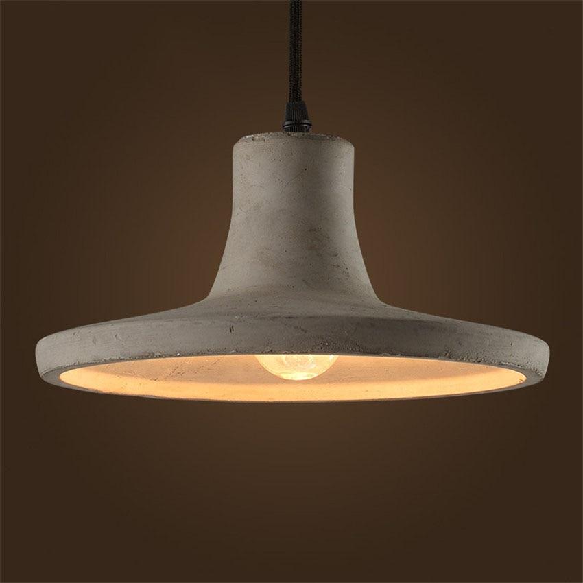 Vintage Creative Cement Pendant Lights Industrial Concrete Pendant Lamps Grey Hanging Lights Edison Bulbs