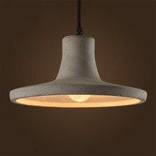Vintage kreatywny Cement wisiorek światła przemysłowe betonowe lampy wiszące szare światła wiszące żarówki edisona
