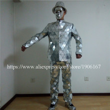 Newest Catwalk Shows Mirror Man Robot Suit Silver Color Stage Ballrooom Costume Mirror Man Party Christmas Performance Clothes
