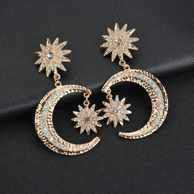 Detail Feedback Questions about Terreau Kathy New Fashion Acrylic  Accessories Stud Earrings Gold Color Moon Star Rhinestones Big Earrings For  Women on ... b5cb7e7b02f9