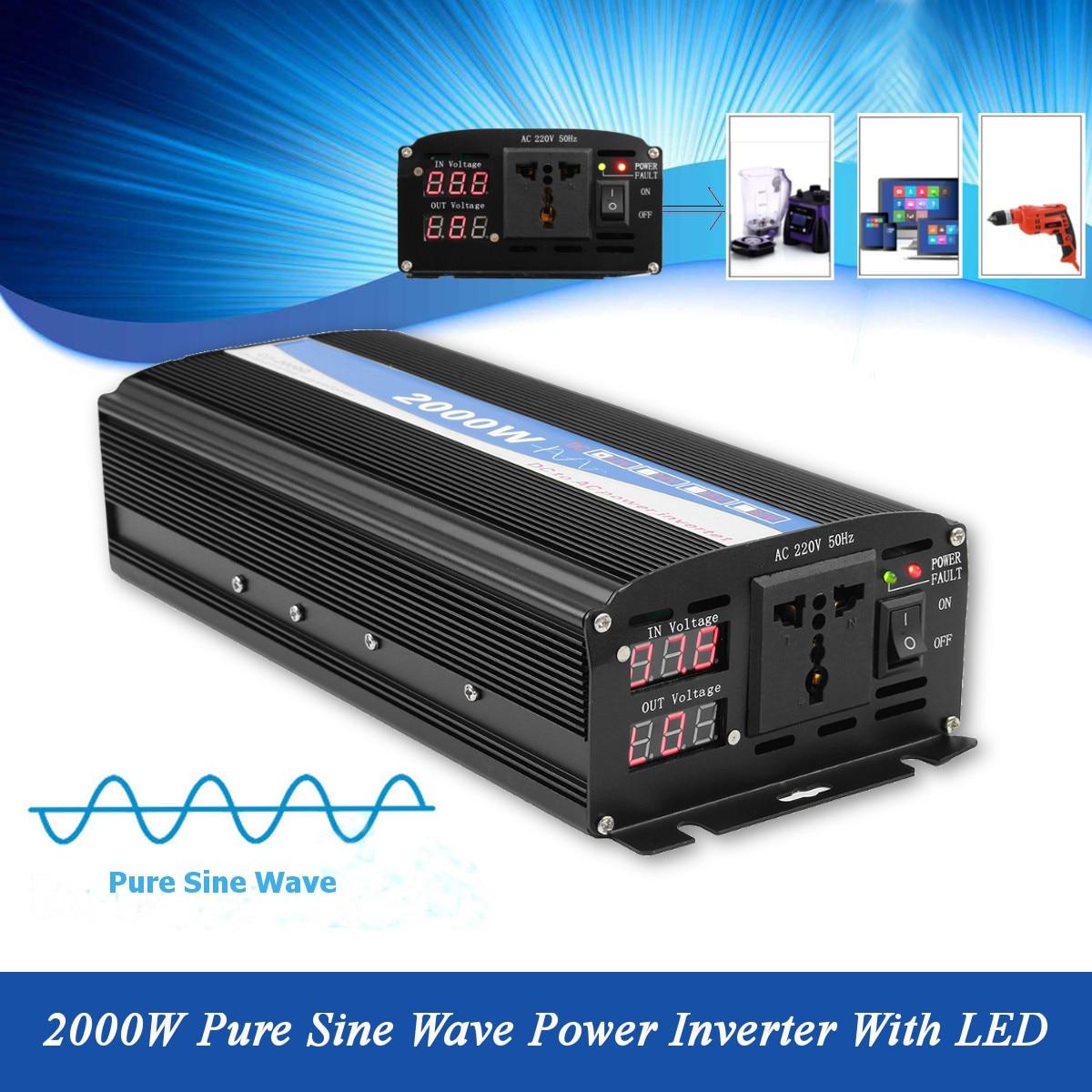 2000 Вт двойной Дисплей Мощность инверторы чистая синусоида Мощность инвертор автомобиля DC 12 В к AC 220 В AC Мощность инвертор Зарядное устройств