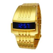цена на Top Brand Luxury Gold Iron Watch Digital Men Electronic Watches Golden Stainless Steel LED Men's Wristwatch Big Dial Reloj New