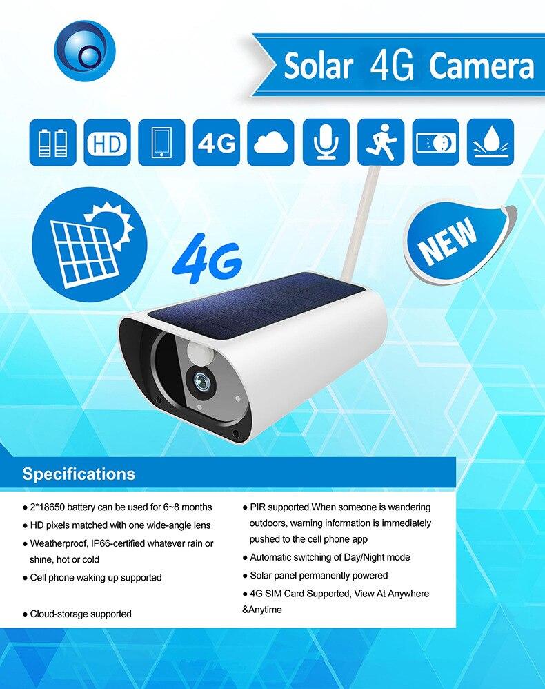 SmartYIBA 4G caméra solaire 2MP caméra de Surveillance de sécurité sans fil extérieure étanche Vision nocturne batterie Rechargeable