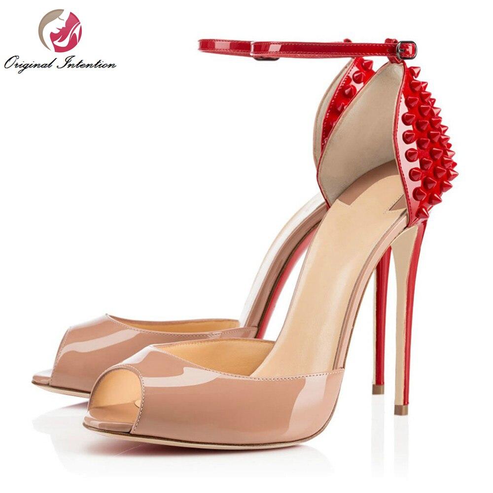 ФОТО Original Intention Gorgeous Women Pumps Elegant Rivets Peep Toe Thin Heels Pumps Nude Patent Leather Shoes Woman Plus Size 4-15
