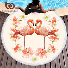 BeddingOutlet Flamingos Large Beach Towel for Adults Kids Microfiber Love Heart Girls Bath Towel Pink Floral Round Yoga Mat(China)