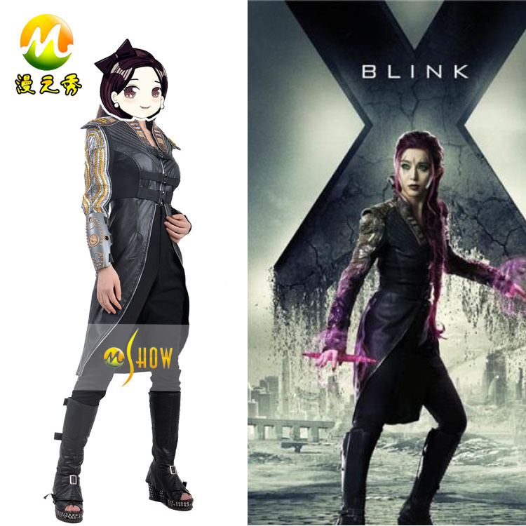X Men Blink Cosplay Costume Hallowen Clothing Party Wear Black Outfit Women  Leather Halloween Role playing Costume Black XXS 3XL,in Anime Costumes from