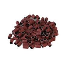 100 adet monte silindirik taşlama kafaları aşındırıcı kollu için zımpara bantları tırnak matkap manikür araçları