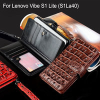 For Lenovo Vibe S1 Lite Case S1La40 Luxury Crocodile Snake Leather Flip Cover Wallet Bag Phone